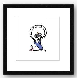 Hamsterrad, gerahmt 38,7 x 38,7 cm