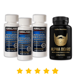 Kit: Minoxidil Kirkland +  Alpha Beard  (3 meses de uso)