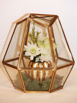 Miniterrarium geometrisch Gold, groß
