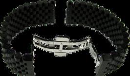 Option: Armband schwarz PVD, Edelstahl/ Titan, runde Glieder (22mm/22mm)