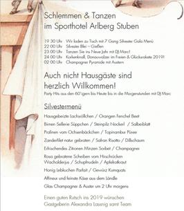 Geschenkgutschein Silvester im Arlberg Stuben