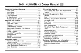Hummer H2 Handbuch 2004 PDF