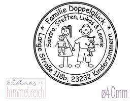 """Familienstempel """"Doppelglück"""" ø40mm"""