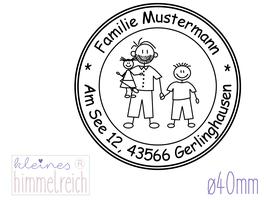 """Familienstempel """"Mustermann"""" ø40mm"""