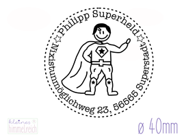 "Adressstempel ""Superheld"" ø40mm"