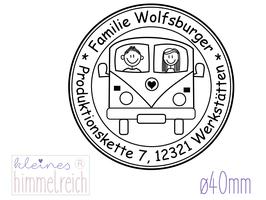 """Familienstempel """"Wolfsburger"""" ø40mm"""