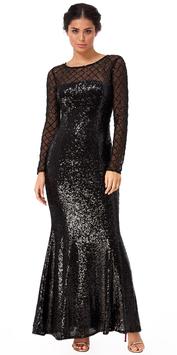 Sheer Diamond Design Sequin Maxi Dress