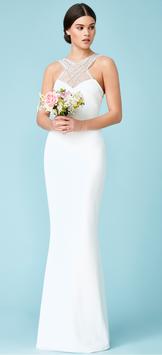 Criss Cross Embellished Neckline Wedding Maxi Dress