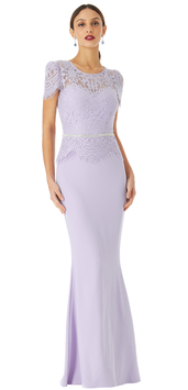 Lace Bodice Maxi Dress with Cap Sleeves