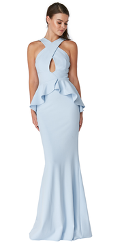 Peplum Maxi Dress With Criss Cross Straps
