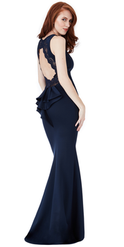 Open Back Lace Maxi Dress with Frill Detail - Navy