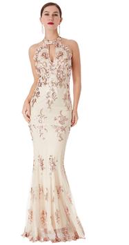 Sequin Embroidered Halterneck Maxi Dress
