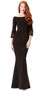 Tulip Maxi Dress with Lace Sleeves