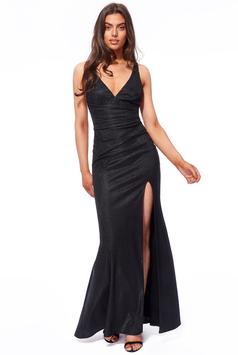 Pleated Waist Cross Back Maxi Dress