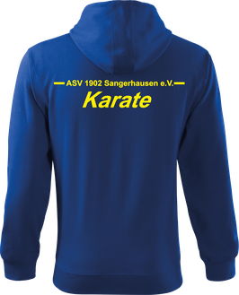Sweatjacke m. Kapuze, Karate, royal blau