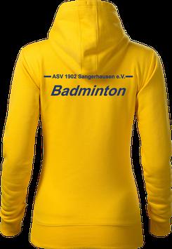 Hoodie Damen, Badminton, gelb