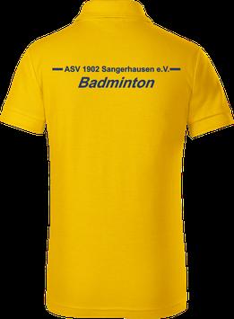 Kinder Poloshirt, Badminton, gelb