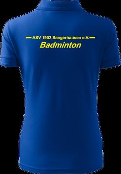 Pique Poloshirt Damen, Badminton, royal blau