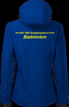 Damen Softshelljacke m. Kapuze, Badminton, royal blau