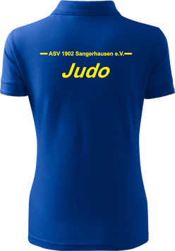 Pique Poloshirt Damen, Judo, royal blau
