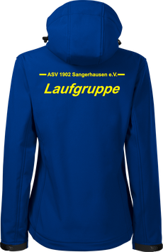Damen Softshelljacke m. Kapuze, Laufgruppe, royal blau