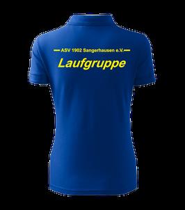Pique Poloshirt Damen, Laufgruppe, royal blau