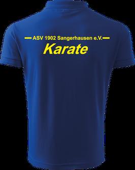 Pique Poloshirt Herren, Karate, royal blau