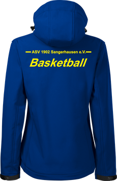 Damen Softshelljacke m. Kapuze, Basketball, royal blau