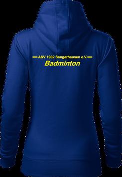 Hoodie Damen, Badminton, royal blau