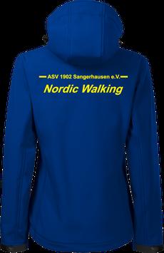 Damen Softshelljacke m. Kapuze, Nordic Walking, royal blau