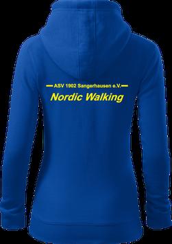 Damen Sweatjacke m. Kapuze, Nordic Walking, royal blau