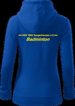 Damen Sweatjacke m. Kapuze, Badminton, royal blau