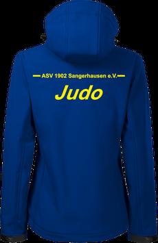 Damen Softshelljacke m. Kapuze, Judo, royal blau