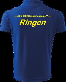 Pique Poloshirt Herren, Ringen, royal blau