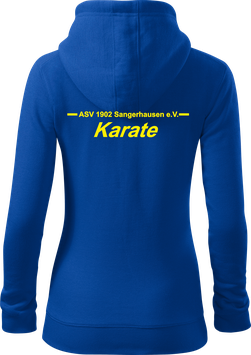 Damen Sweatjacke m. Kapuze, Karate, royal blau