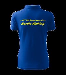 Pique Poloshirt Damen, Nordic Walking, royal blau