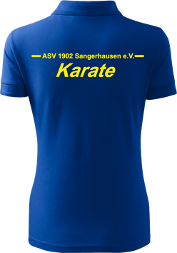 Pique Poloshirt Damen, Karate, royal blau