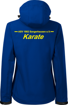 Damen Softshelljacke m. Kapuze, Karate, royal blau