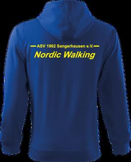Sweatjacke m. Kapuze, Nordic Walking, royal blau