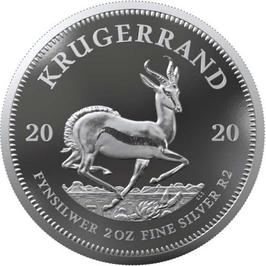 Krugerrand, Silber, 2 Oz, 2020, Polierte Platte