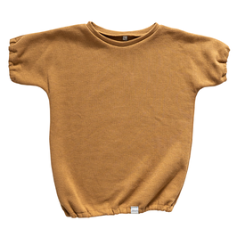 NIEUW - Ballon shirt wafel camel korte mouw