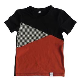 Shirt korte mouw 3-vlaks zwart-blok-roest