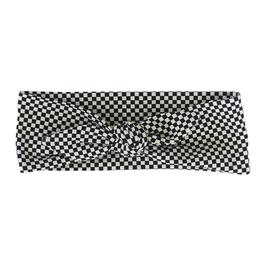 Haarband strik wit zwart geblokt