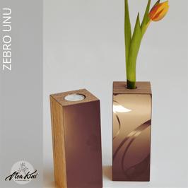 Vase/Kerze ZEBRO, brombeer floral