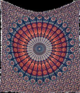 "indisches Dekotuch ""Pfauen Mandala"""