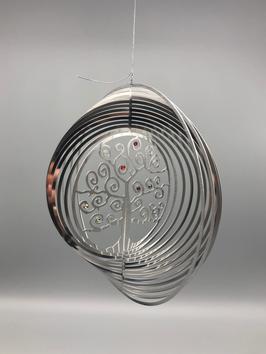Edelstahlspirale - Lebensbaum mit Swarovski-Steinen in 7 Chakra-Farben