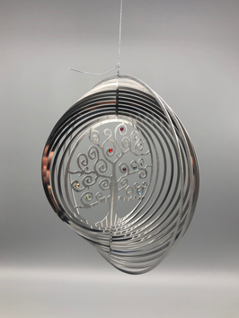 stainless steel spiral - tree of life with Swarovski stones in 7 chakra colors