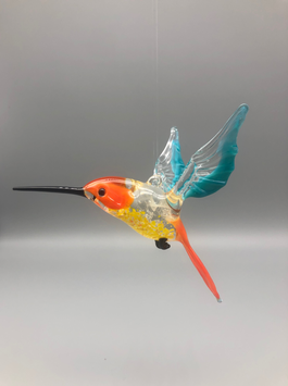 HUMMINGBIRD IN ORANGE/TURQUOISE/ORANGE