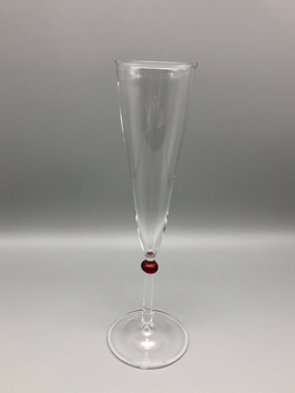 CHAMPAGNE GLASS WITH RED SPOT