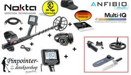 NOKTA ANFIBIO Multi-Frequenz Metalldetektor (inkl. Messer, Spule, Akku Pack)